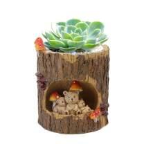 Naimo Tree Hole Series Resin Succulent Plant Pot Cactus Plant Pot Flower Pot Container Home Decor (Bear-Medium)