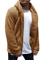 Beotyshow Mens Fuzzy Sherpa Jacket Zip Up Faux Fleece Cardigan with Belt Fall Hooded Button Coats
