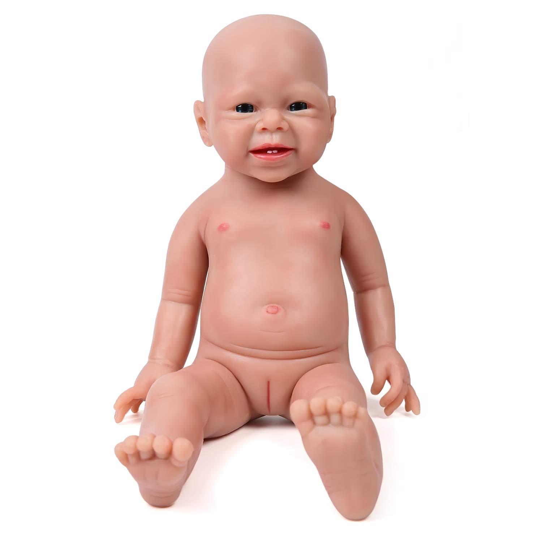 IVITA Full Body Silicone Reborn Baby Doll Realistic Newborn Baby Doll Twins Lifelike Blue Eyes Boy and Girl for Kids Doll Collector, 19 inch, 3.47 kg, Girl