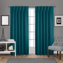 """Exclusive Home Curtains Sateen Twill Woven Blackout Pinch Pleat Curtain Panel Pair, 84"""" Length, Teal, 2 Piece"""