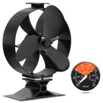 GALAFIRE [ 2 Years ] Large Airflow Heat Powered Log Burner Wood Stove Fan Eco Fan with Fireplace Accessories Magnetic Stove Thermometer