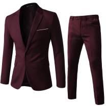 WEEN CHARM Men's Suits One Button Slim Fit 2-Piece Suit Blazer Jacket Pants Set Burgundy