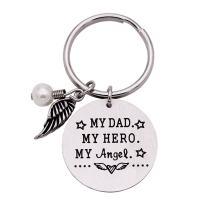 Melix Home I Used to Be His Angel Now He's Mine Necklace Bracelet Bangle, My Hero My Angel Memorial Keychain, Loss of Father Sympathy Gift, Remembrance Jewelry