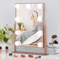 FENCHILIN Hollywood Mirror with Light Large Lighted Makeup Mirror Vanity Makeup Mirror Smart Touch Control 3Colors Dimable Light Detachable 10X Magnification 360°Rotation (Rose Gold)
