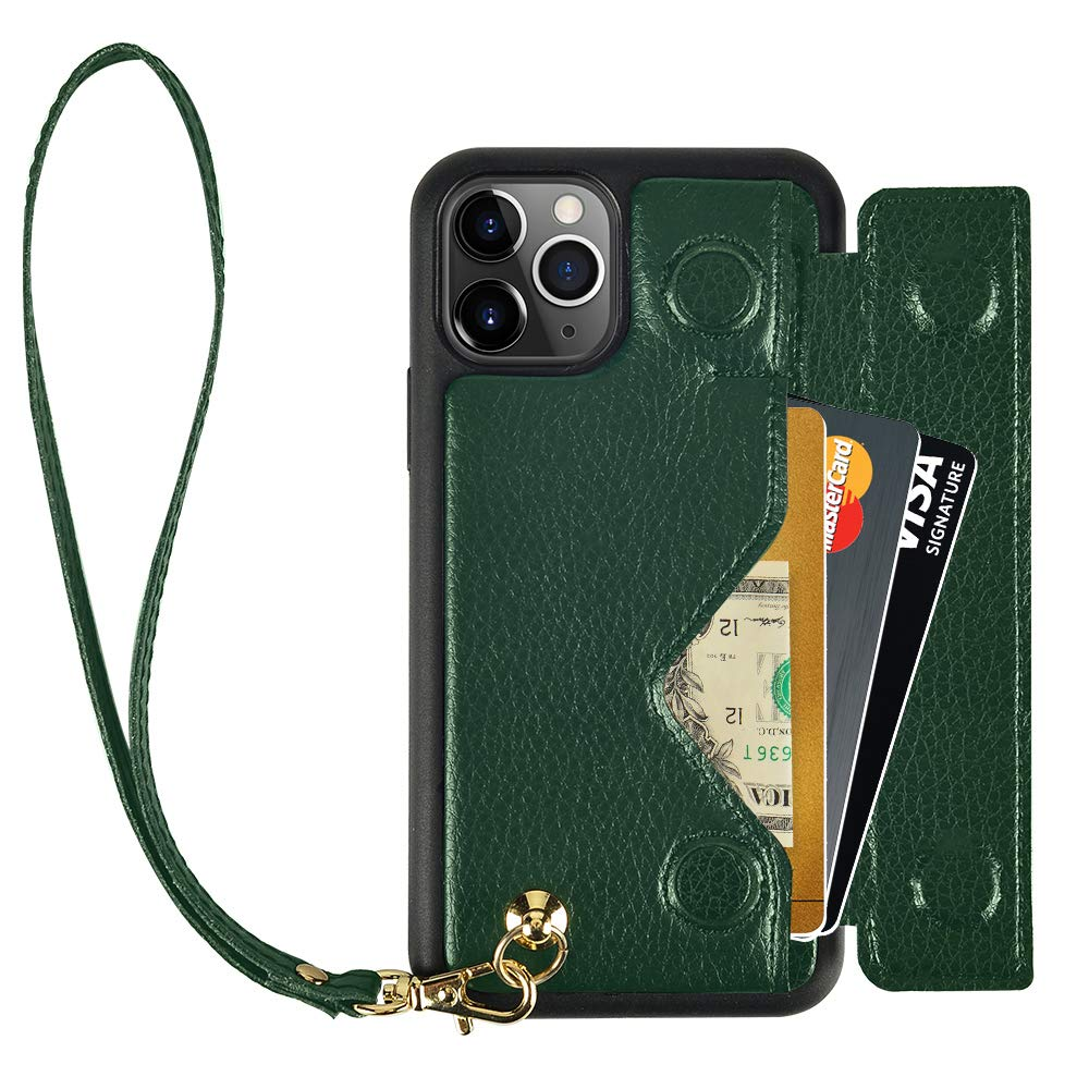 iPhone 11 Pro Max Wallet Case, iPhone 11 Pro Max Case with Wrist Strap, ZVEdeng iPhone 11 Pro Max Card Holder Case Wrist Bag Magnetic Flip Case Handbag Shockproof Cover Case-Midnight Green