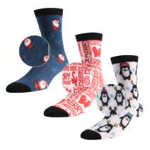 Christmas Printed Socks, Three street Fun Colorful Holiday Festive, Unisex Christmas Design Crew Dress Socks