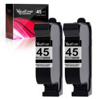 Valuetoner Remanufactured Ink Cartridge Replacement for HP 45 Compatible with Deskjet 1000Cse 1100 1220C/PS 1600 6122 710 720 782 815 820 830 850 870 880 890 895 930 950C 960 970 980C (Black, 2 Pack)
