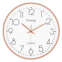 Foxtop Modern Silent Non-Ticking Quartz Decorative Battery Operated Wall Clock for Living Room Home Office School (Rose Gold Aluminum Frame, 12 inch)