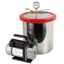 5 Gallon Vacuum Chamber Kit Stainless Steel Tank Degassing Chamber Silicone Kit with 1/4HP 3CFM Vacuum Pump Hose