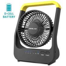 OPOLAR Battery Operated Desk Fan with Timer, Super Long Lasting D Battery Powered(Not Included), Portable Camping USB Fan with Strong Airflow, 180° Rotation & 3 Speeds, for Home Office Outdoor Use