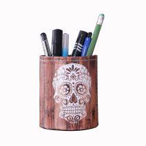 LINKWELL Antique Halloween Wood Slat Sugar Skull PU Leather Pencil Pen Holder Desk Organizer PH03