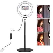 Andoer LED Ring Light with Extendable Desktop Stand & Cell Phone Holder for YouTube Video for Makeup