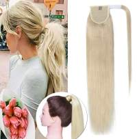 SEGO Ponytail Extension Human Hair Pony Tails Hair Extensions Wrap Around Ponytail Hair Extensions 100% Real Remy Hair With Magic Paste Long Straight For Women #60 Platinum Blonde 90g 18 Inch