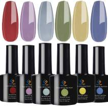 FIGHTART Color Gel Nail Polish Kit Set 6 Colors Morandi Matte Glossy Effect Soak Off UV Nail Lamp LED Cured