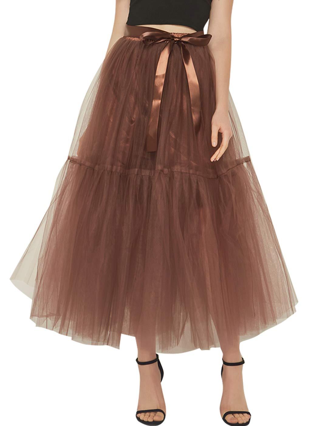 FEOYA Women's Long Maxi Tulle Skirt High Waist A Line Ankle Length Prom Bridesmaids Petticoat with Belt