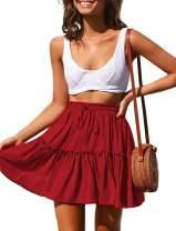 MayBuy Women's Cute Chiffon Drawstring High Waist Ruffle Mini Skirts S-3XL