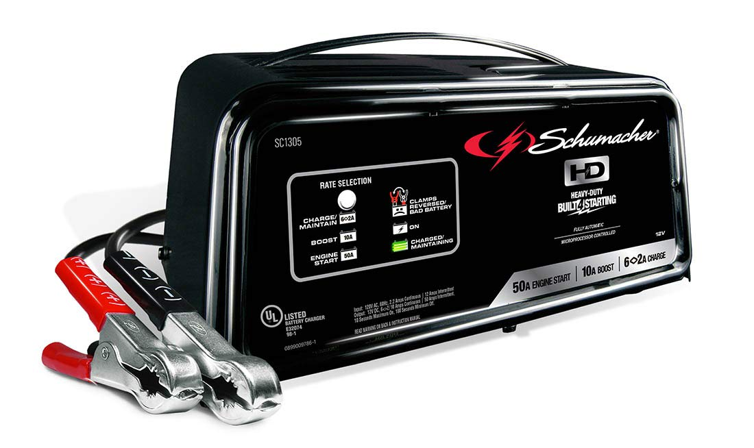 Schumacher SC1305 12V Fully Automatic Battery Charger and 10/50A Engine Starter