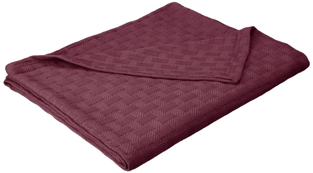 Cotton Blanket, Soft & Cozy, Woven, All-Season Throw, Breathable, Medium Weight, Picnic, Beach, Traveling, Camping, Thermal Blanket, Basket Weave Pattern, Full/Queen, Plum