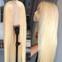 Hermosa 613 Lace Front Wig Human Hair PrePlucked 150% Density Straight 613 Frontal Human Hair Wigs for Women with Baby Hair (22 Inch, 613 Blonde Color)