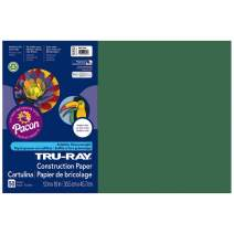 Pacon Tru-Ray Construction Paper, 12-Inches by 18-Inches, 50-Count, Dark Green (103053)