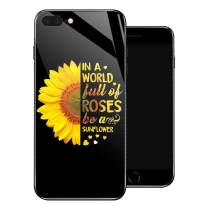 iPhone 8 Case,Sunflower Rose iPhone 7 Cases for Girls/Women/Teenagers,Tempered Glass Pattern Design Back Cover[Shock Absorption] Soft TPU Bumper Frame Support Case for iPhone 7/8