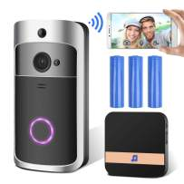 GEMWON Video Doorbell, Smart Wireless Doorbell, Security Home Camera Real-Time Video and Two-Way Talk with Phone Apps, Night Vision, PIR Motion Detection, with Batteries(No SD Card