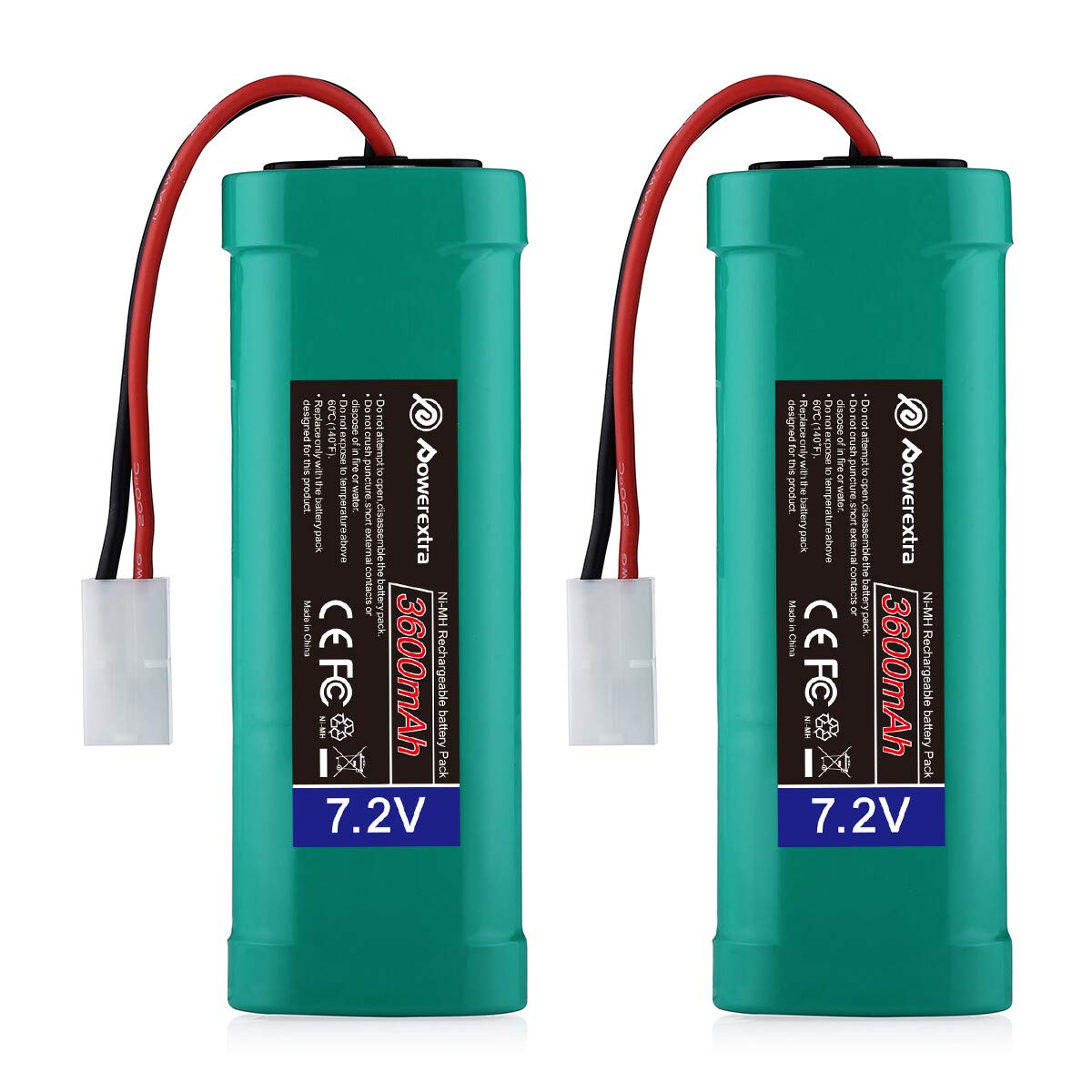 Powerextra 2 Pack 7.2V 3600mAh High Capacity 6-Cell NiMH Battery Packs with Standard Tamiya Connectors Compatiable RC Cars, RC Truck, RC Airplane, RC Helicopter, RC Boat