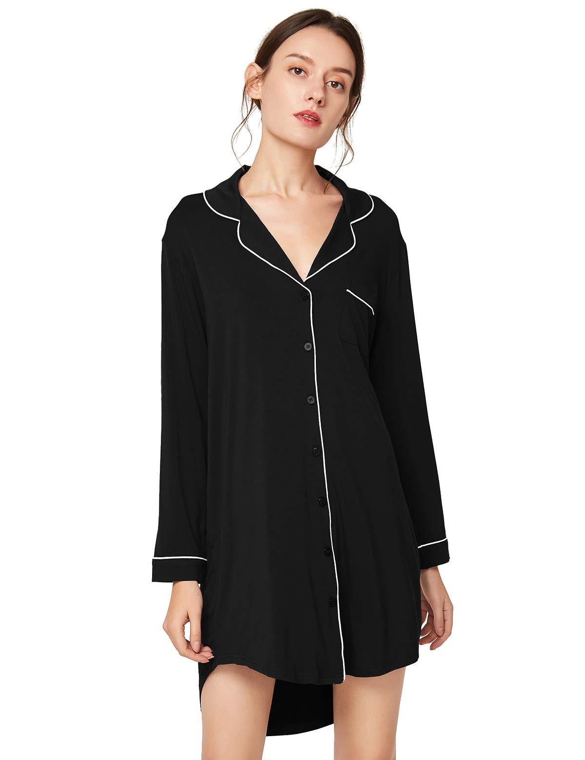 Escalier Women's Nightgown Button Down Nightshirt Long Sleeve Boyfriend Sleep Shirt Pajama Dress Sleepwear Nightdress