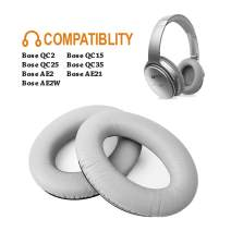 Bose Replacement Ear Pads F FEYCH 2 Pieces Noise Isolation Memory Foam Ear Cushions Cover for Bose QC35, QC25, QC15, QC2/ Ae2/ Ae2i/ Ae2W Sound Link SoundTrue (Sliver)