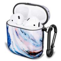GOLINK Case for Airpods,Color Marble Series Protective Shockproof TPU Gel Case with Printing for Airpods 1st/2nd Charging Case(White Blue Marble)