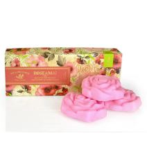 Pre de Provence French Soap Bar In Gift Box, Enriched with Shea Butter to Moisturize and Soothe, Infused With Real Petals (Includes Three, 100 Gram Rose Shaped Soaps) - Rose De Mai
