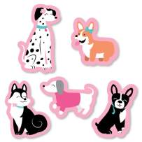 Big Dot of Happiness Pawty Like a Puppy Girl - DIY Shaped Pink Dog Baby Shower or Birthday Party Cut-Outs - 24 Count