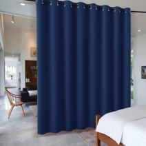RYB HOME Dining Area Space Room Divider, Light Block Noise Reduce Insulated Curtain Drape Screen from High Ceiling to Floor for Cabinet/Bedroom, Wide 15ft x Long 9ft, Navy Blue, 1 Panel