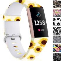 Maledan Compatible with Fitbit Charge 3 Bands for Women Girls, Waterproof Pattern Printed Watch Band Replacement for Charge 4 & Charge 3 & Charge 3 SE Fitness Activity Tracker, Large, Sunflower