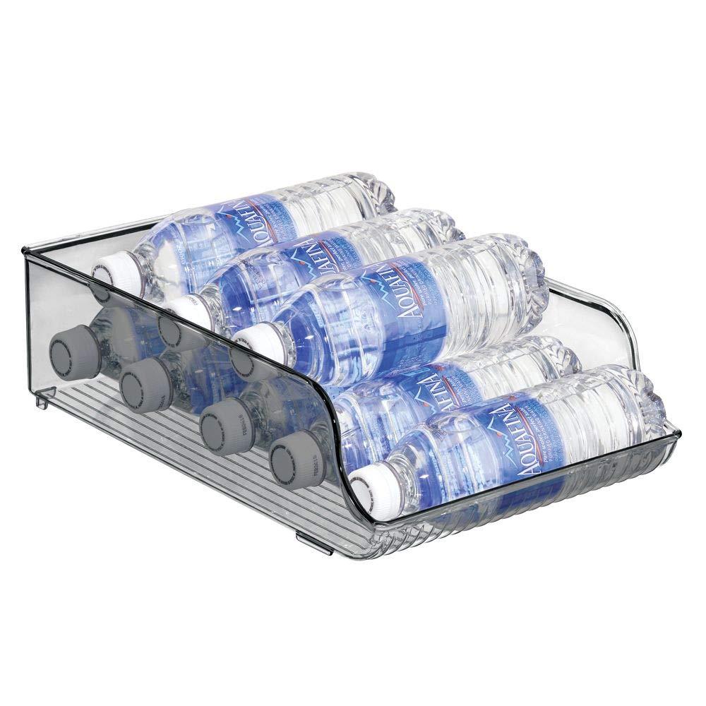 mDesign Wide Plastic Kitchen Water Bottle Storage Organizer Tray Rack - Holder and Dispenser for Refrigerators, Freezers, Cabinets, Pantry, Garage - Smoke Gray