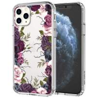 MOSNOVO iPhone 11 Pro Case, Black Purple Floral Flower Garden Pattern Printed Clear Design Transparent Plastic Hard Back Case with TPU Bumper Protective Case Cover for iPhone 11 Pro