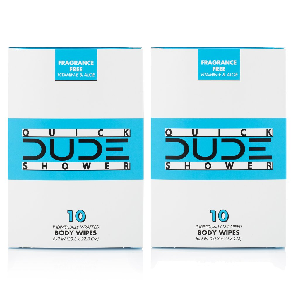 DUDE Shower Body Wipes,Portable Travel-Sized Individual Cleansing Cloths for Men, 10 Count, Pack of 2