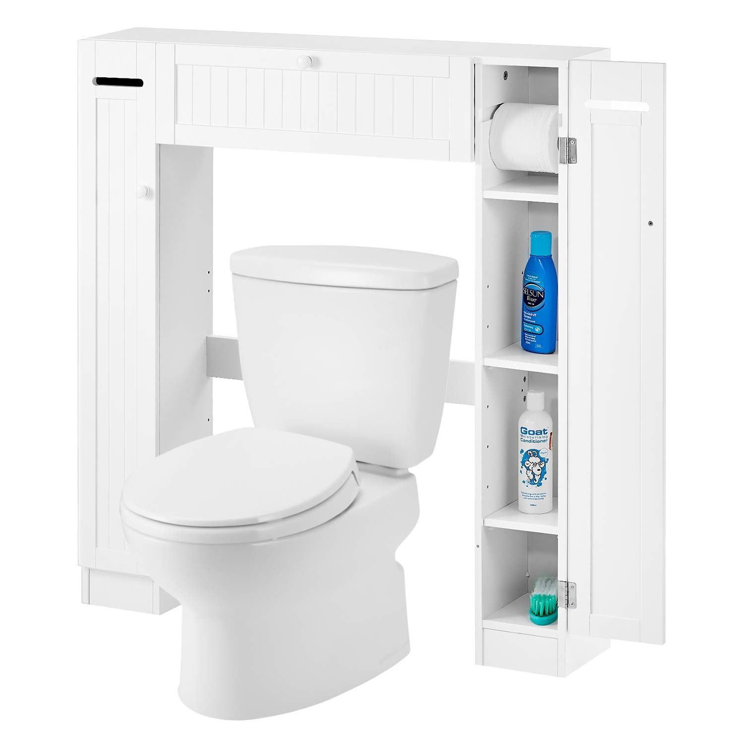 Over The Toilet Storage Cabinet Kealive Toilet Cabinet Organizer with 2 Side Doors, Paper Holder and Adjustable Shelves, Bathroom Freestanding Spacesaver, 34.3L x 7.1W x 38.6H, White