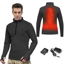 J JINPEI Heated Thermal Zip Pullover for Men Women,with 3000mAh Rechargeable Batteries Base Layer