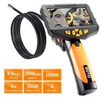 Industrial Endoscope,ZOTO 1080P Full HD 4.5 inch LCD Digital Inspection Camera with 5 Meters Semi-Rigid Tube 2600mAh Battery 32GB Memory DVR Waterproof Borescope Snake Camera (16.4 FT) (Black)