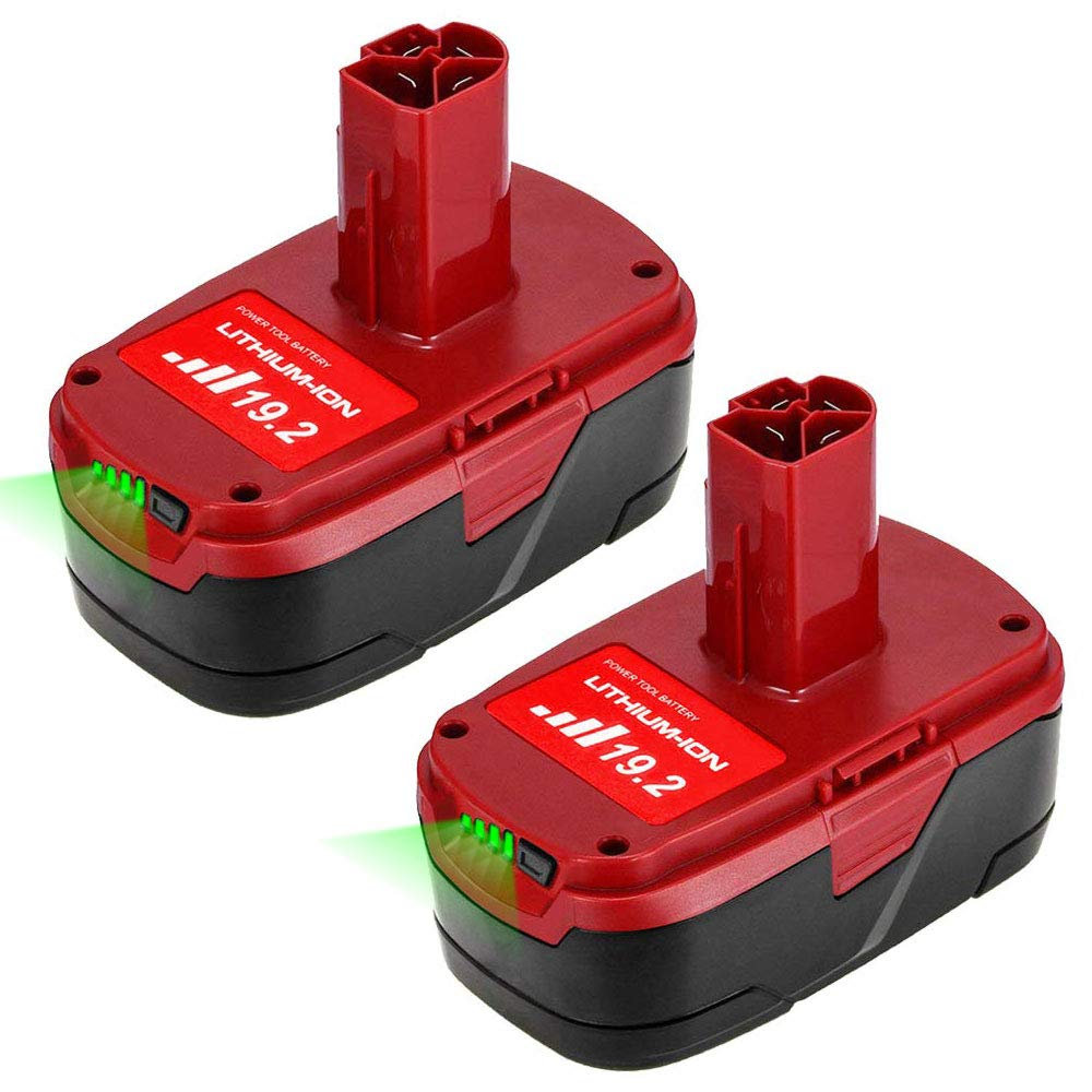 2Packs Lithium 19.2 Volt Battery Replacement for Craftsman C3 XCP 5.0Ah 11375 130279005 1323517 315.113753 1323903 130211004 11045 315.115410 315.11485 for 19.2V Batteries
