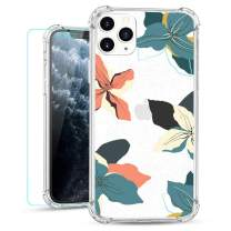 Ruky iPhone 11 Pro Max Clear Floral Flower Case with Glitter Design Women Girls Ultra-Thin Soft TPU Shockproof Protective Cover for iPhone 11 Pro Max 2019 (Tropical Floral)