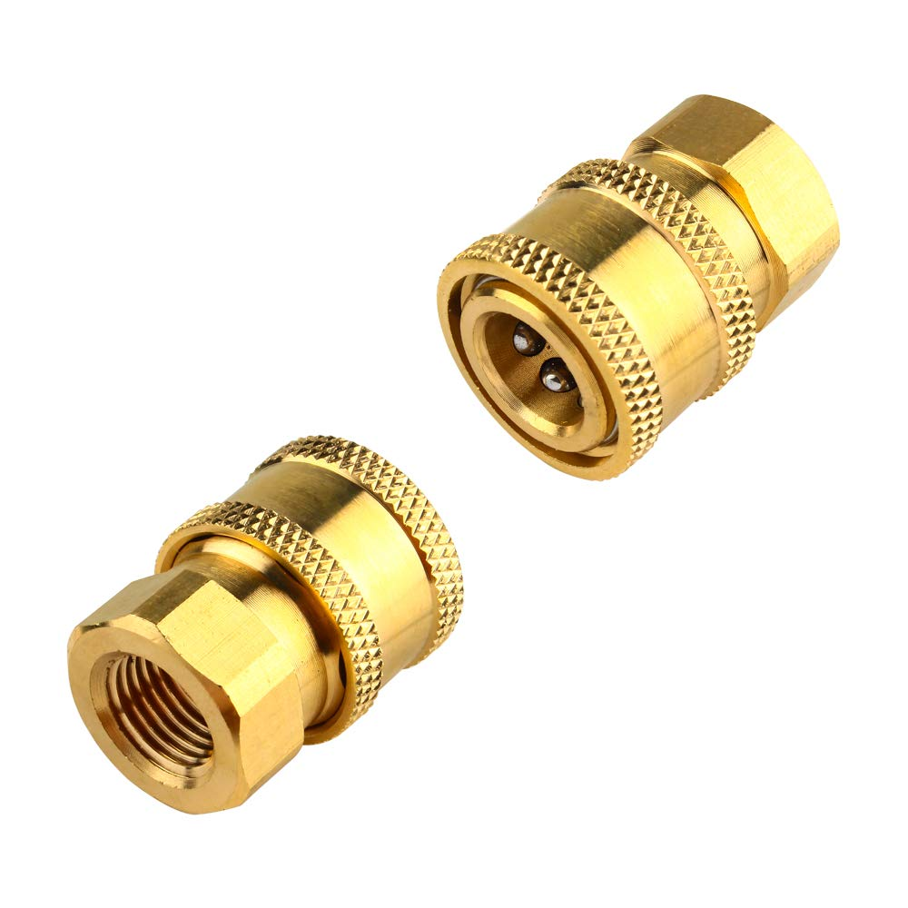 TBTeek Pressure Washer 1/4 Inch Quick Coupler Female Brass Quick Connect Fittings,Pack of 2