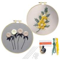 Heflashor 2 Pack Embroidery Starter Kit Per-Design Flower Plant Pattern Cloth with Bamboo Hoop Color Threads for DIY Handmade Decor
