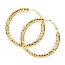 U7 Vintage Round Bamboo Grain Earrings 80 90's Party Jewelry Stainless Steel 18K Gold Plated Big Hoop Earrings