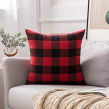 MIULEE Classic Retro Checkers Plaids Linen Soft Solid Black and Red Decorative Throw Pillow Cover Home Decor Design Cushion Case for Christmas Sofa Bedroom Car 26 x 26 Inch 65 x 65 cm