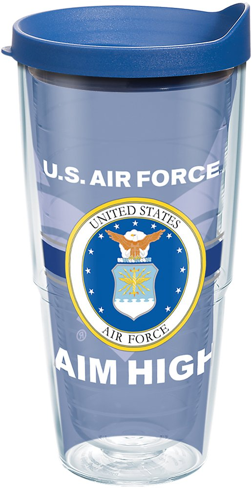 Tervis 1287154 Air Force Pride Tumbler with Wrap and Blue Lid 24oz, Clear