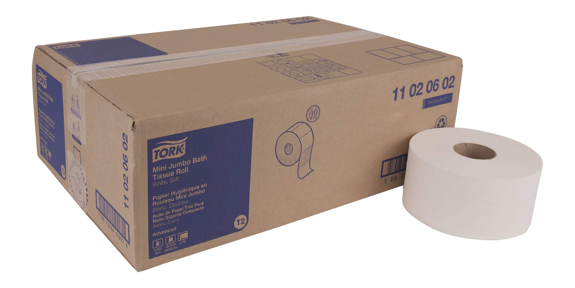 "Tork Advanced 11020602 Soft Mini Jumbo Bath Tissue Roll, Perforated, 2-Ply, 7.36"" Diameter, 3.55"" Width x 8.38"" Length, White (Case of 12 Rolls, 1,075 per Roll, 12,900 Sheets)"