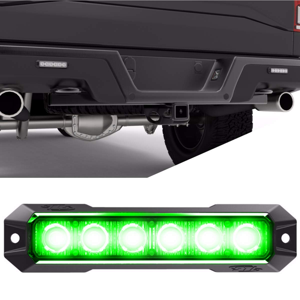 SpeedTech Lights Z-6 TIR 18W LED Strobe Light for Police Cars, Construction Trucks, Service Vehicles, Plows, Emergency Vehicles. Surface Mount Grille Flashing Hazard Beacon Light - Green/Green