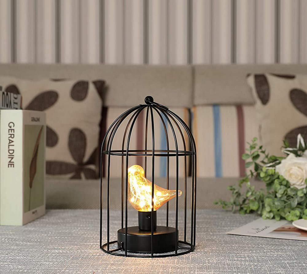 "JHY DESIGN Birdcage Decorative Lamp Battery Operated 9.5"" Tall Cordless Lamp with Warm White Fairy Lights Bird Bulb for Indoor Outdoor Events Parities Weddings (Black)"